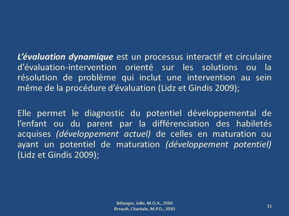 Lévaluation dynamique est un processus interactif et circulaire dévaluation-intervention orienté sur les solutions ou la résolution de problème qui in
