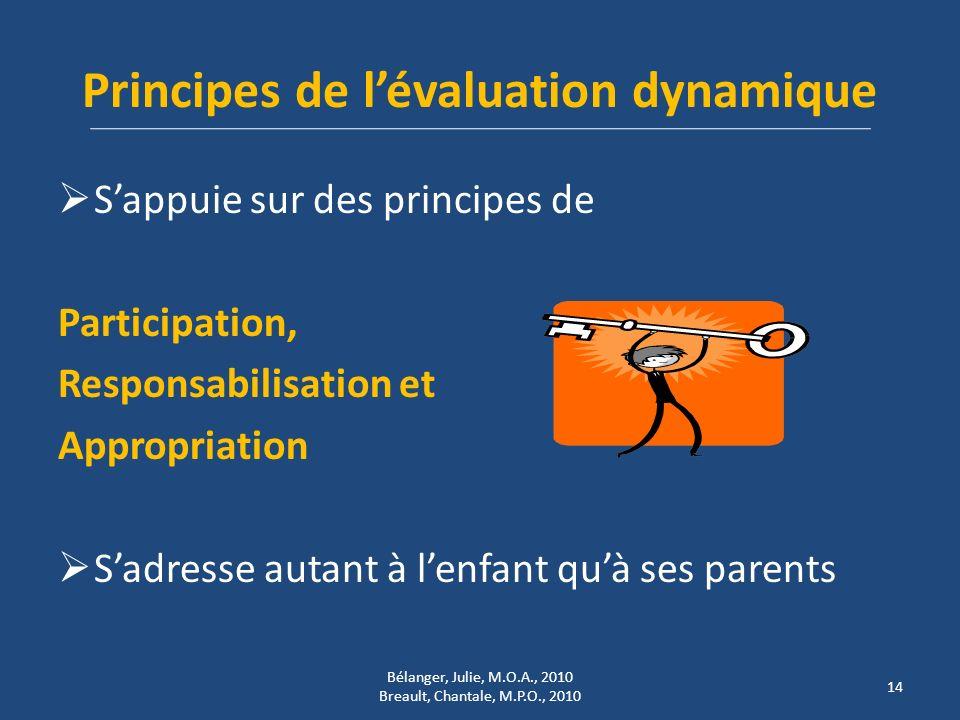 Principes de lévaluation dynamique Sappuie sur des principes de Participation, Responsabilisation et Appropriation Sadresse autant à lenfant quà ses p