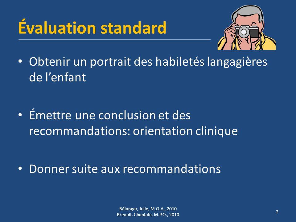 Évaluation standard Obtenir un portrait des habiletés langagières de lenfant Émettre une conclusion et des recommandations: orientation clinique Donne