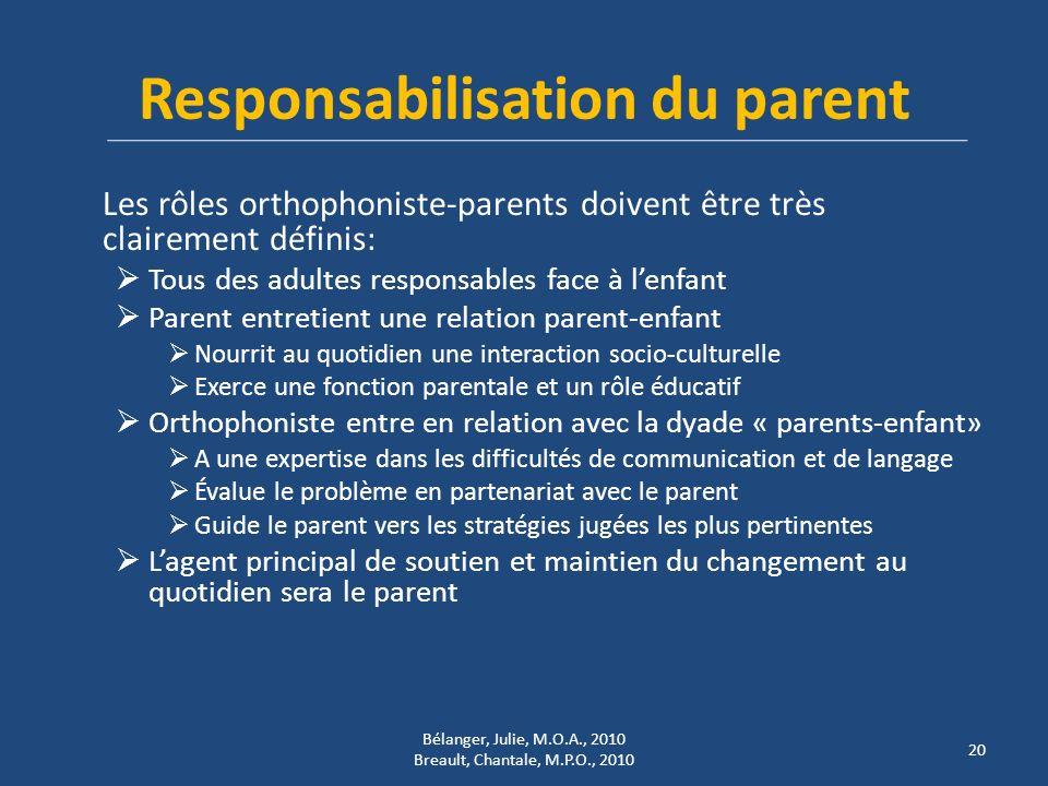 Responsabilisation du parent Les rôles orthophoniste-parents doivent être très clairement définis: Tous des adultes responsables face à lenfant Parent