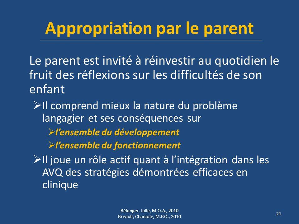 Appropriation par le parent Le parent est invité à réinvestir au quotidien le fruit des réflexions sur les difficultés de son enfant Il comprend mieux