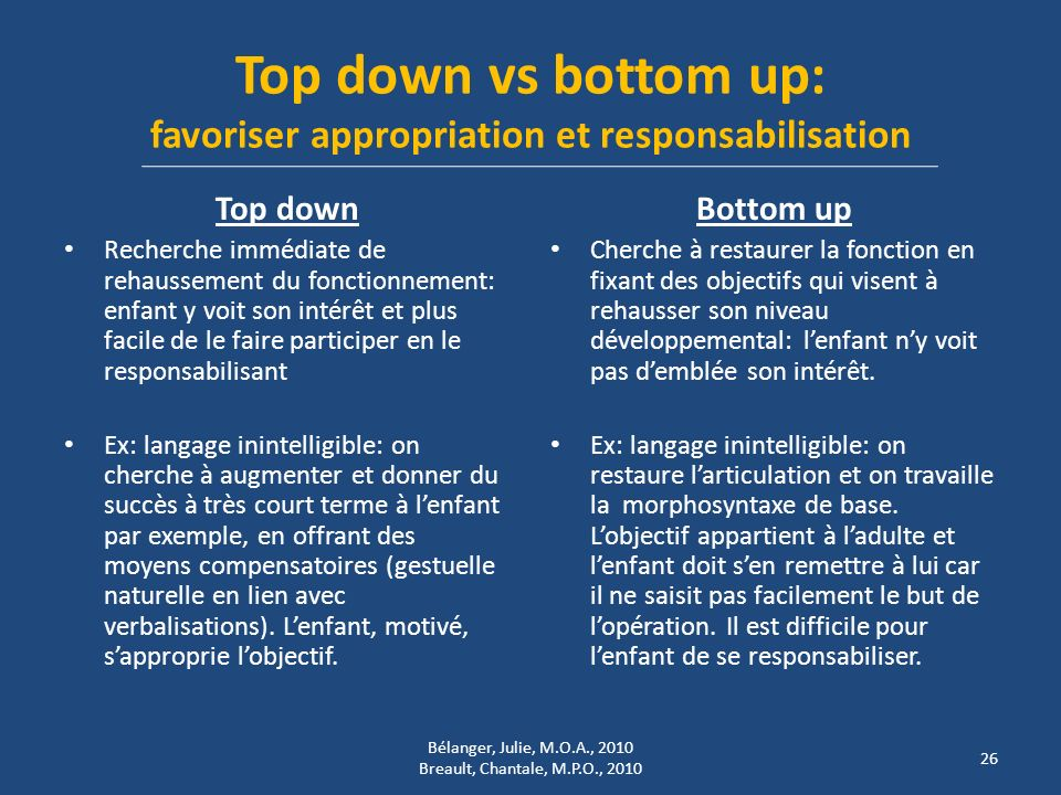 Top down vs bottom up: favoriser appropriation et responsabilisation Top down Recherche immédiate de rehaussement du fonctionnement: enfant y voit son