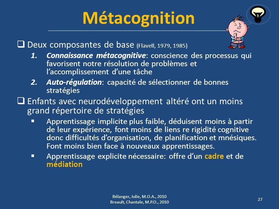 Métacognition Deux composantes de base (Flavell, 1979, 1985) 1.Connaissance métacognitive: conscience des processus qui favorisent notre résolution de