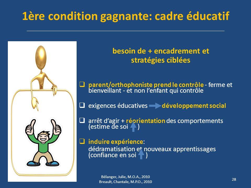 1ère condition gagnante: cadre éducatif besoin de + encadrement et stratégies ciblées parent/orthophoniste prend le contrôle - ferme et bienveillant -