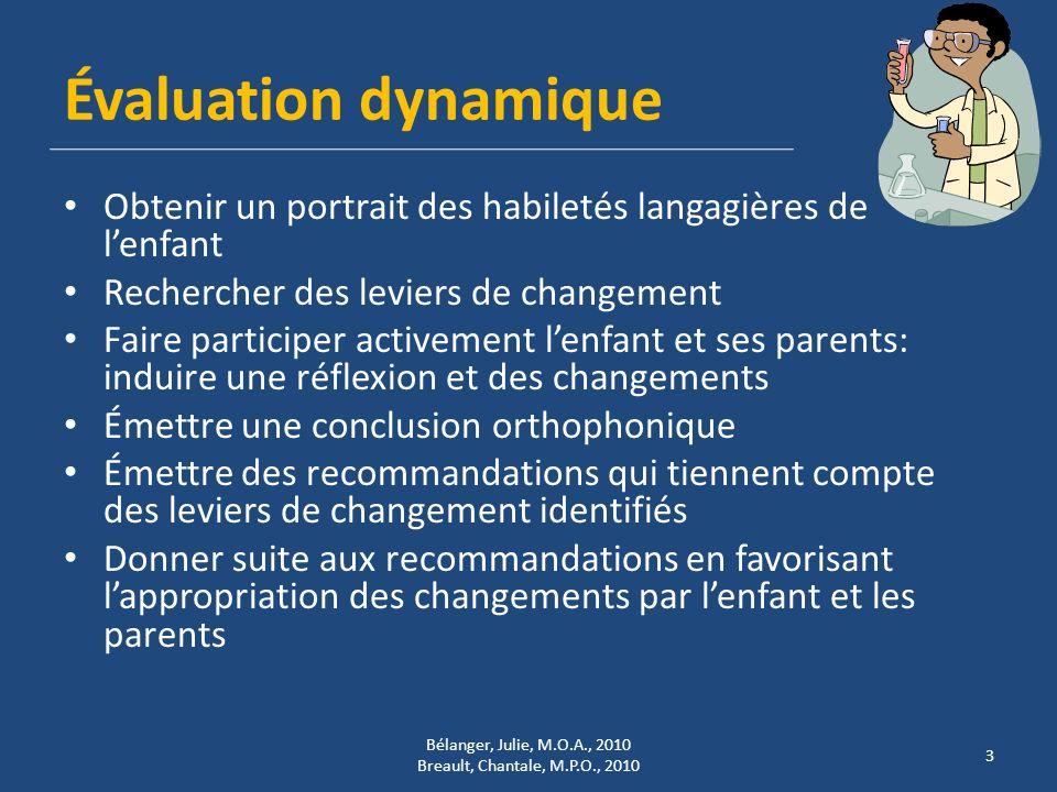 Évaluation dynamique Obtenir un portrait des habiletés langagières de lenfant Rechercher des leviers de changement Faire participer activement lenfant