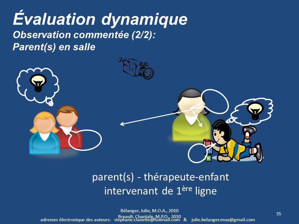 35 parent(s) - thérapeute-enfant intervenant de 1 ère ligne Évaluation dynamique Observation commentée (2/2): Parent(s) en salle adresses électronique
