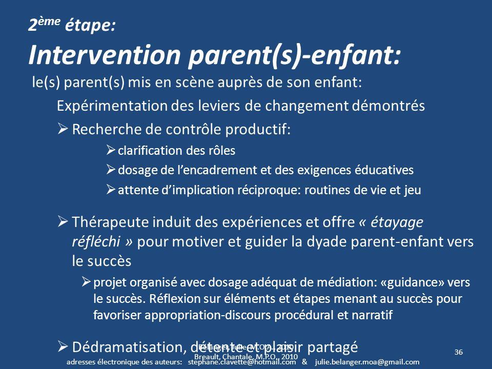 2 ème étape: Intervention parent(s)-enfant: le(s) parent(s) mis en scène auprès de son enfant: Expérimentation des leviers de changement démontrés Rec