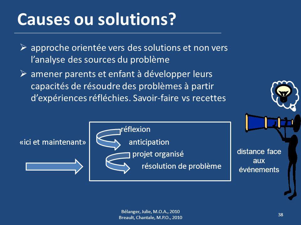 Causes ou solutions? approche orientée vers des solutions et non vers lanalyse des sources du problème amener parents et enfant à développer leurs cap