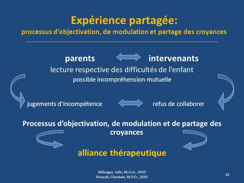 Expérience partagée: processus dobjectivation, de modulation et partage des croyances parents intervenants lecture respective des difficultés de lenfa