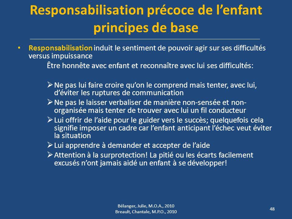 Responsabilisation précoce de lenfant principes de base Responsabilisation induit le sentiment de pouvoir agir sur ses difficultés versus impuissance