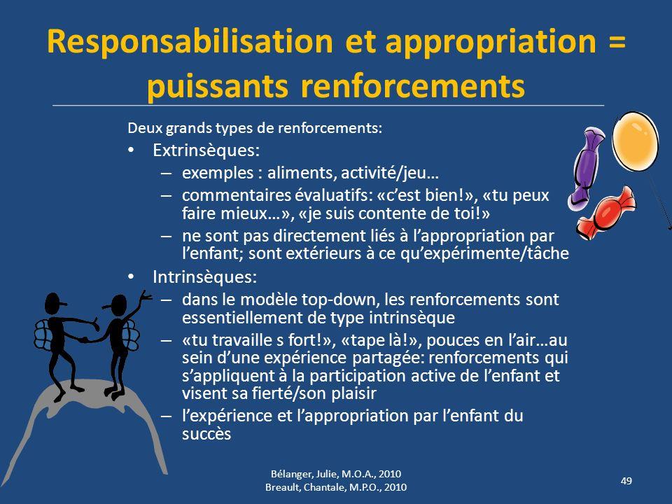 Responsabilisation et appropriation = puissants renforcements Deux grands types de renforcements: Extrinsèques: – exemples : aliments, activité/jeu… –