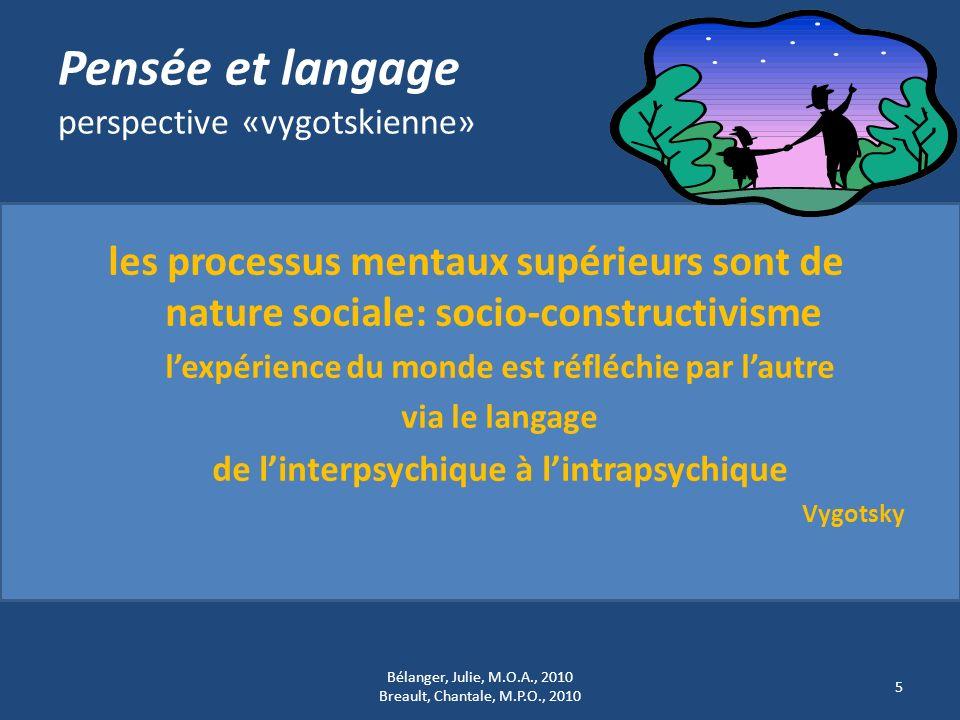 Pensée et langage perspective «vygotskienne» les processus mentaux supérieurs sont de nature sociale: socio-constructivisme lexpérience du monde est r