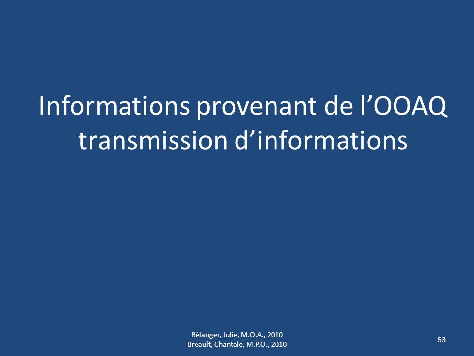 Informations provenant de lOOAQ transmission dinformations 53 Bélanger, Julie, M.O.A., 2010 Breault, Chantale, M.P.O., 2010