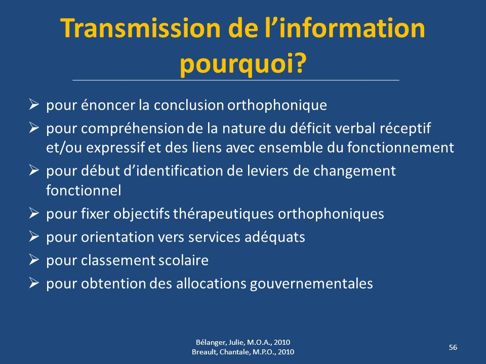 Transmission de linformation pourquoi.