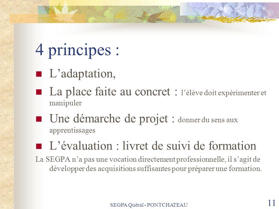 4 principes : Ladaptation, La place faite au concret : lélève doit expérimenter et manipuler Une démarche de projet : donner du sens aux apprentissage