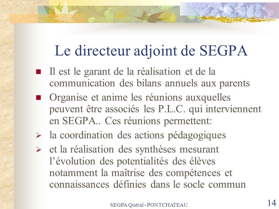 SEGPA Quéral - PONTCHATEAU 14 Le directeur adjoint de SEGPA Il est le garant de la réalisation et de la communication des bilans annuels aux parents O