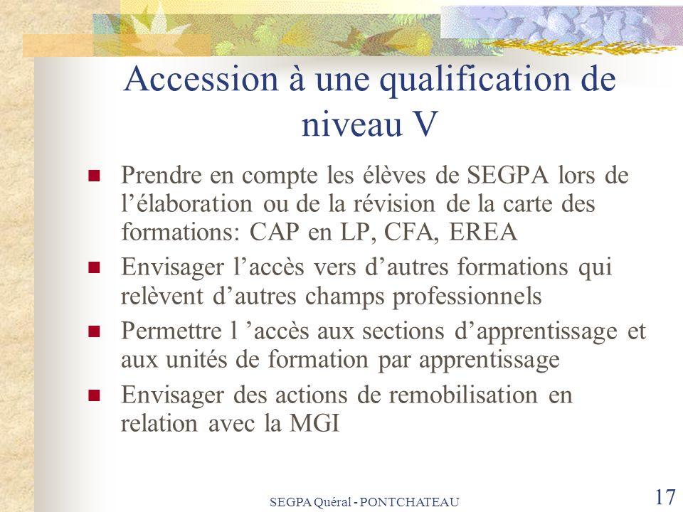 SEGPA Quéral - PONTCHATEAU 17 Accession à une qualification de niveau V Prendre en compte les élèves de SEGPA lors de lélaboration ou de la révision d