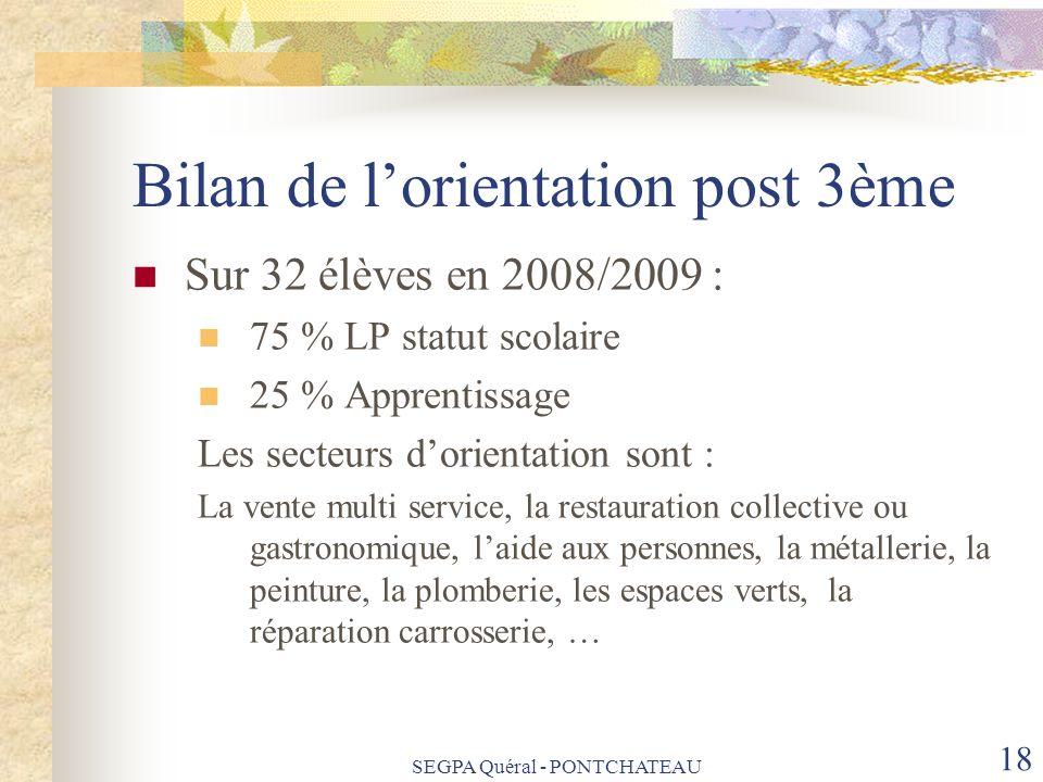 Bilan de lorientation post 3ème Sur 32 élèves en 2008/2009 : 75 % LP statut scolaire 25 % Apprentissage Les secteurs dorientation sont : La vente mult