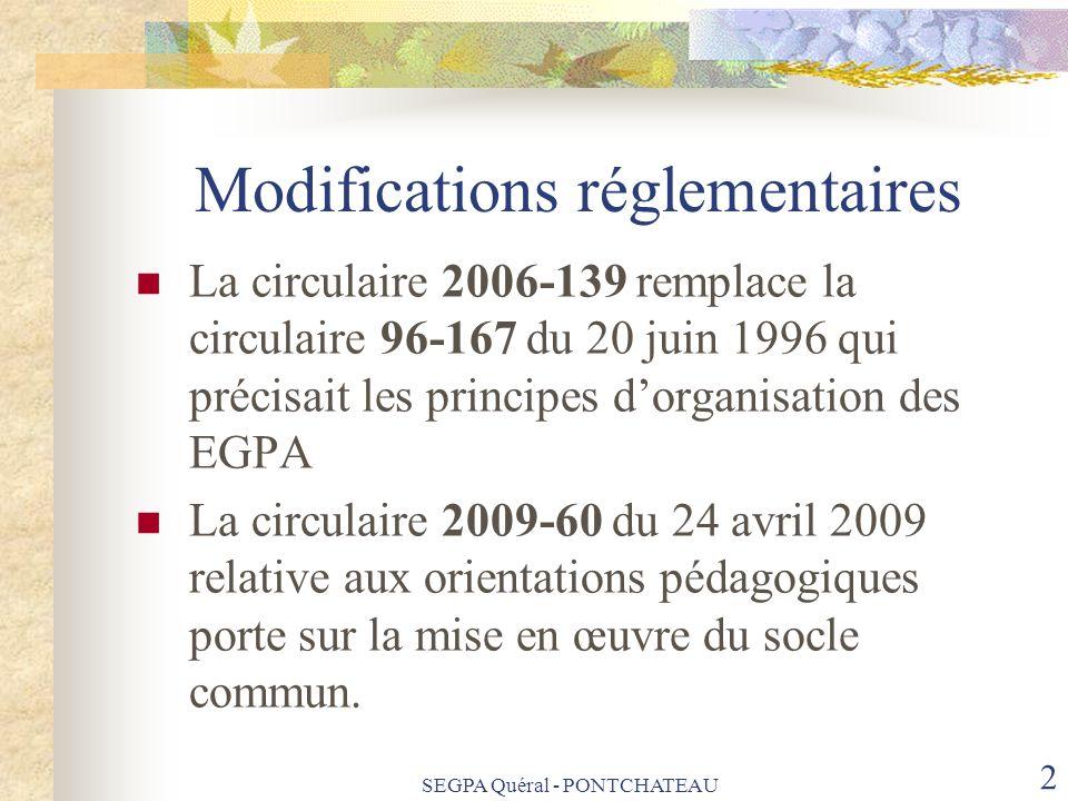 SEGPA Quéral - PONTCHATEAU 2 Modifications réglementaires La circulaire 2006-139 remplace la circulaire 96-167 du 20 juin 1996 qui précisait les princ