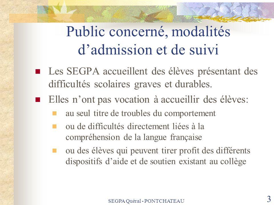 SEGPA Quéral - PONTCHATEAU 14 Le directeur adjoint de SEGPA Il est le garant de la réalisation et de la communication des bilans annuels aux parents Organise et anime les réunions auxquelles peuvent être associés les P.L.C.