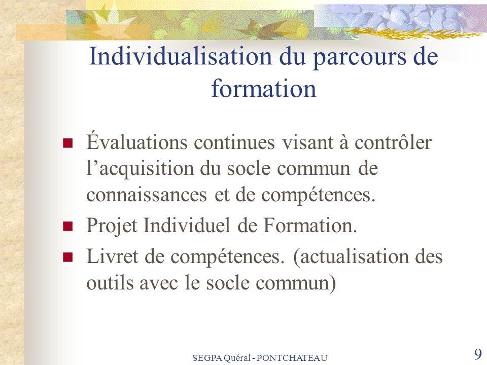SEGPA Quéral - PONTCHATEAU 9 Individualisation du parcours de formation Évaluations continues visant à contrôler lacquisition du socle commun de conna