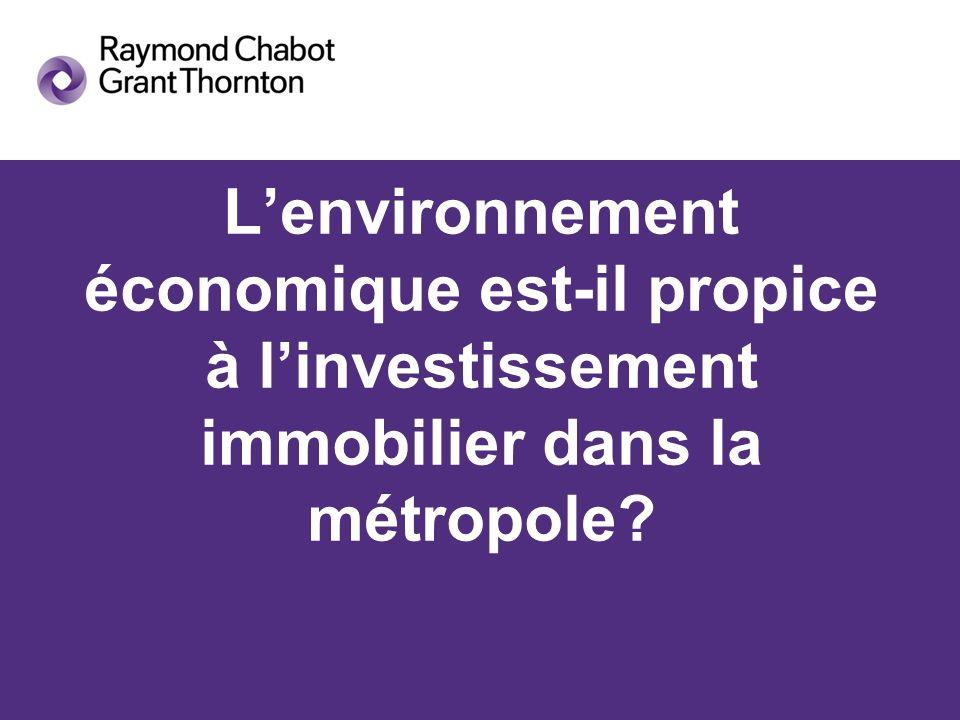 Lenvironnement économique est-il propice à linvestissement immobilier dans la métropole