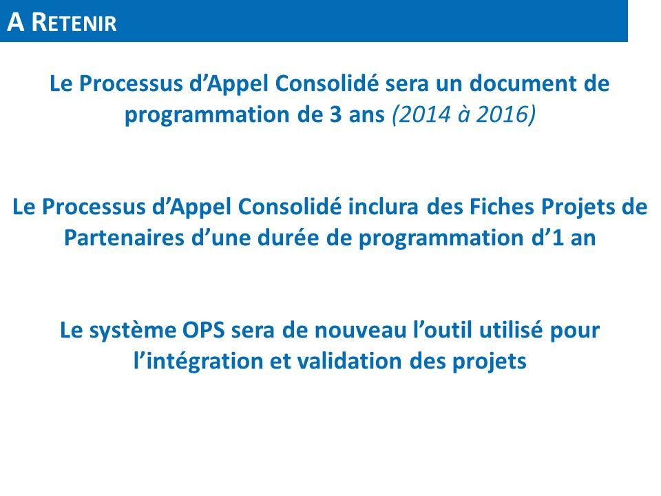 A R ETENIR Le Processus dAppel Consolidé sera un document de programmation de 3 ans (2014 à 2016) Le Processus dAppel Consolidé inclura des Fiches Pro