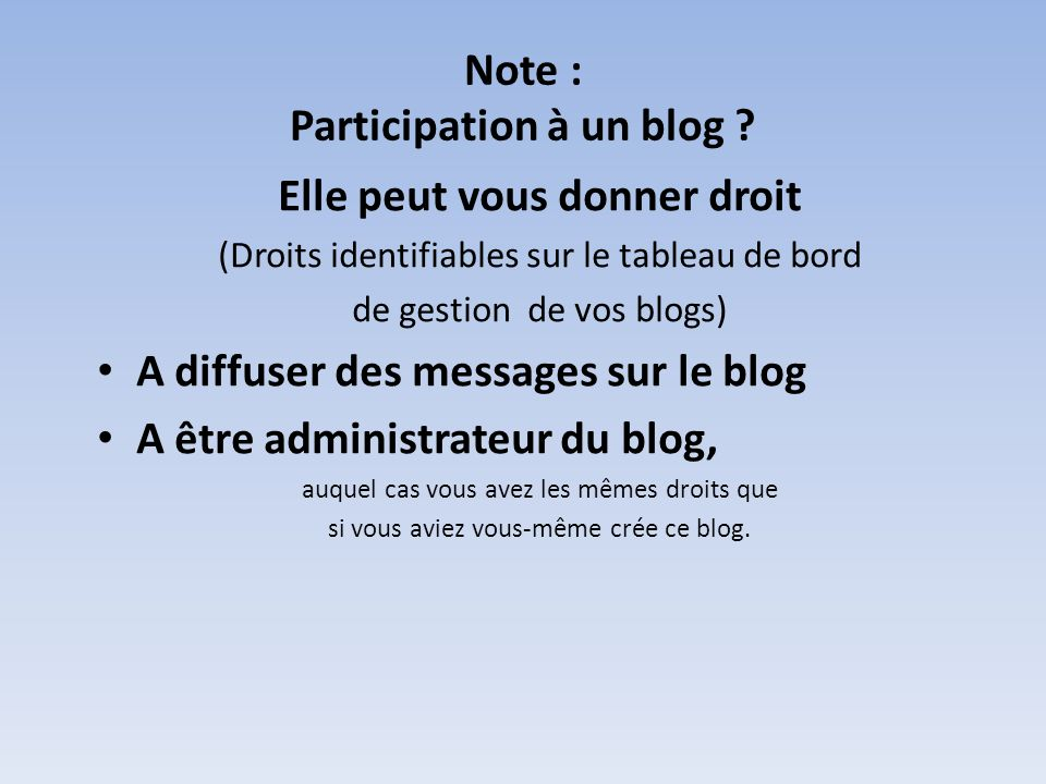 Note : Participation à un blog .