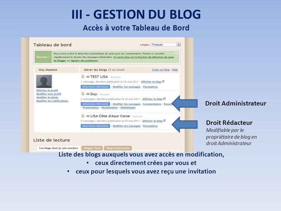 III - GESTION DU BLOG Accès à votre Tableau de Bord Liste des blogs auxquels vous avez accès en modification, ceux directement crées par vous et ceux pour lesquels vous avez reçu une invitation Droit Rédacteur Modifiable par le propriétaire de blog en droit Administrateur Droit Administrateur