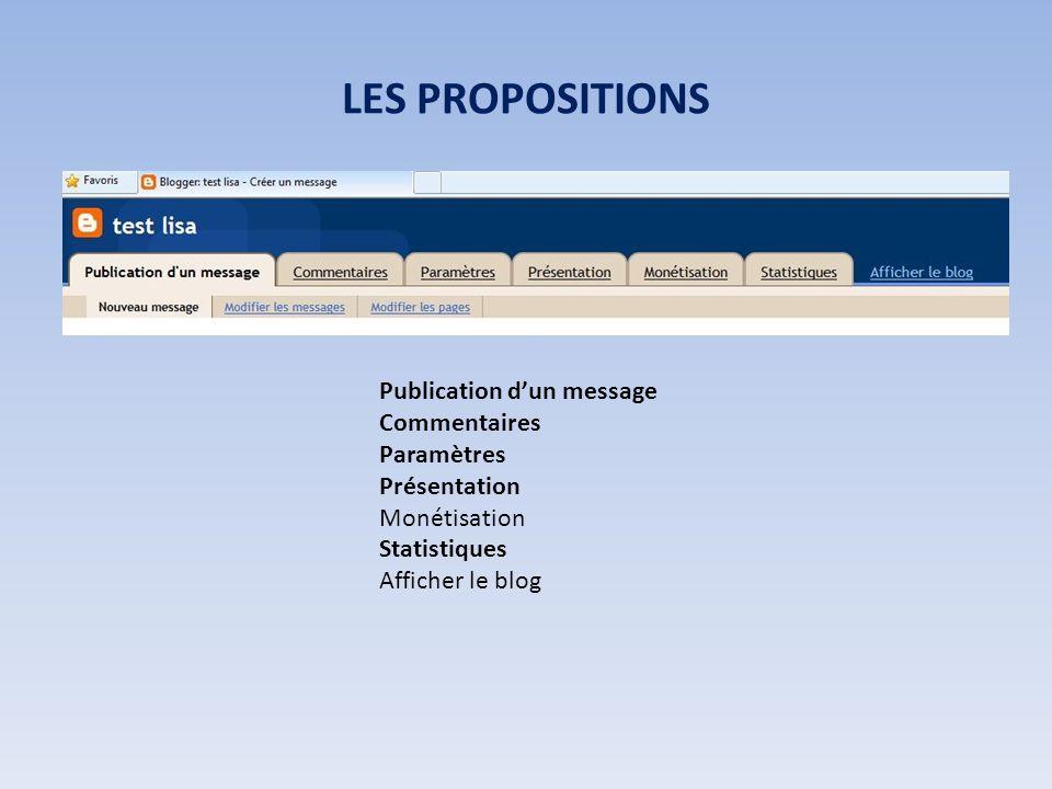 LES PROPOSITIONS Publication dun message Commentaires Paramètres Présentation Monétisation Statistiques Afficher le blog