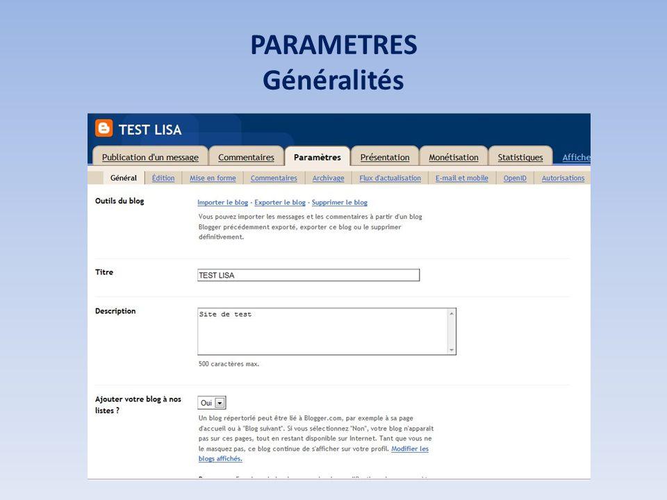 PARAMETRES Généralités