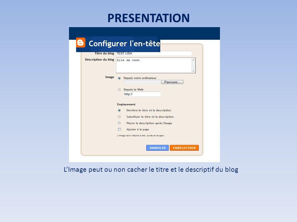 PRESENTATION LImage peut ou non cacher le titre et le descriptif du blog