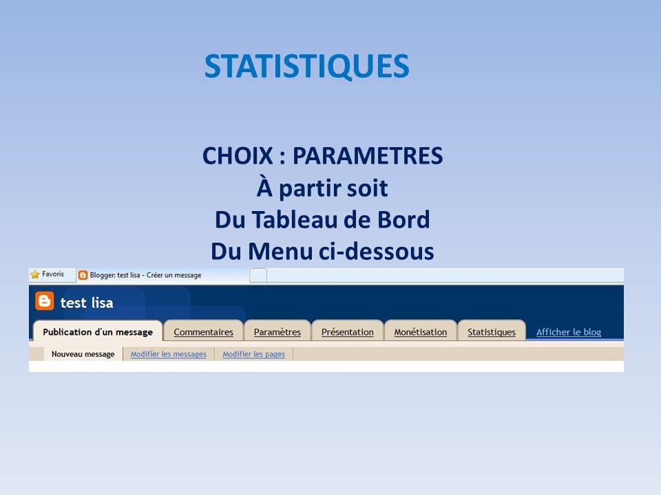 CHOIX : PARAMETRES À partir soit Du Tableau de Bord Du Menu ci-dessous STATISTIQUES