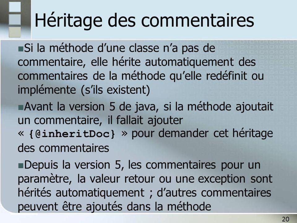 20 Héritage des commentaires Si la méthode dune classe na pas de commentaire, elle hérite automatiquement des commentaires de la méthode quelle redéfi