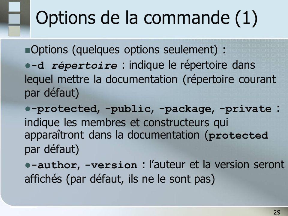 29 Options de la commande (1) Options (quelques options seulement) : -d répertoire : indique le répertoire dans lequel mettre la documentation (répertoire courant par défaut) -protected, -public, -package, -private : indique les membres et constructeurs qui apparaîtront dans la documentation ( protected par défaut) -author, -version : lauteur et la version seront affichés (par défaut, ils ne le sont pas)