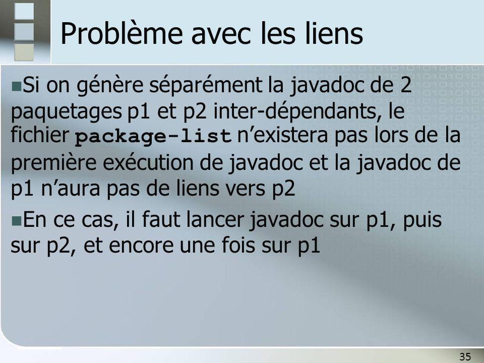 35 Problème avec les liens Si on génère séparément la javadoc de 2 paquetages p1 et p2 inter-dépendants, le fichier package-list nexistera pas lors de la première exécution de javadoc et la javadoc de p1 naura pas de liens vers p2 En ce cas, il faut lancer javadoc sur p1, puis sur p2, et encore une fois sur p1