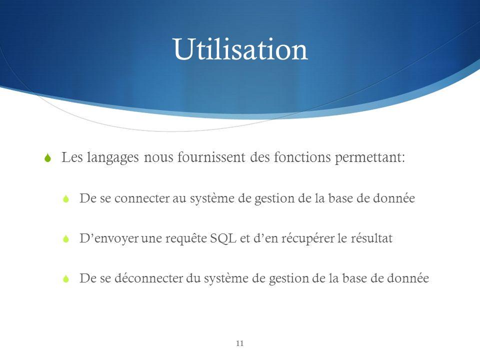 Utilisation Les langages nous fournissent des fonctions permettant: De se connecter au système de gestion de la base de donnée Denvoyer une requête SQL et den récupérer le résultat De se déconnecter du système de gestion de la base de donnée 11
