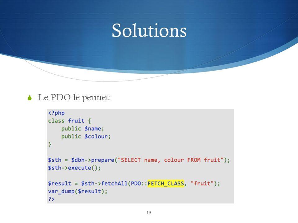 Solutions Le PDO le permet: 15