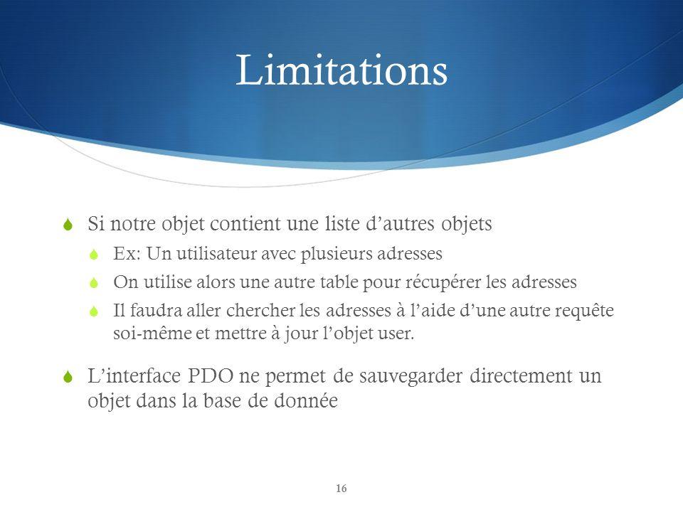 Limitations Si notre objet contient une liste dautres objets Ex: Un utilisateur avec plusieurs adresses On utilise alors une autre table pour récupére