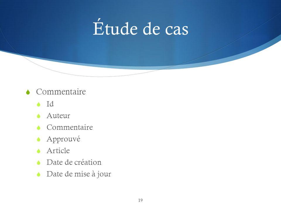 Étude de cas Commentaire Id Auteur Commentaire Approuvé Article Date de création Date de mise à jour 19
