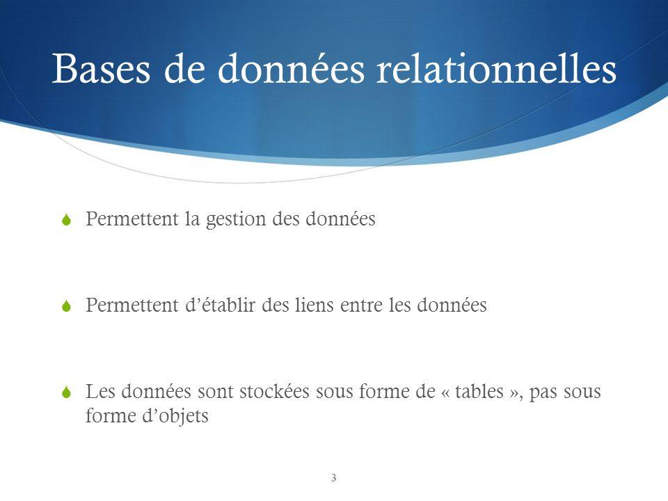 Bases de données relationnelles Permettent la gestion des données Permettent détablir des liens entre les données Les données sont stockées sous forme de « tables », pas sous forme dobjets 3