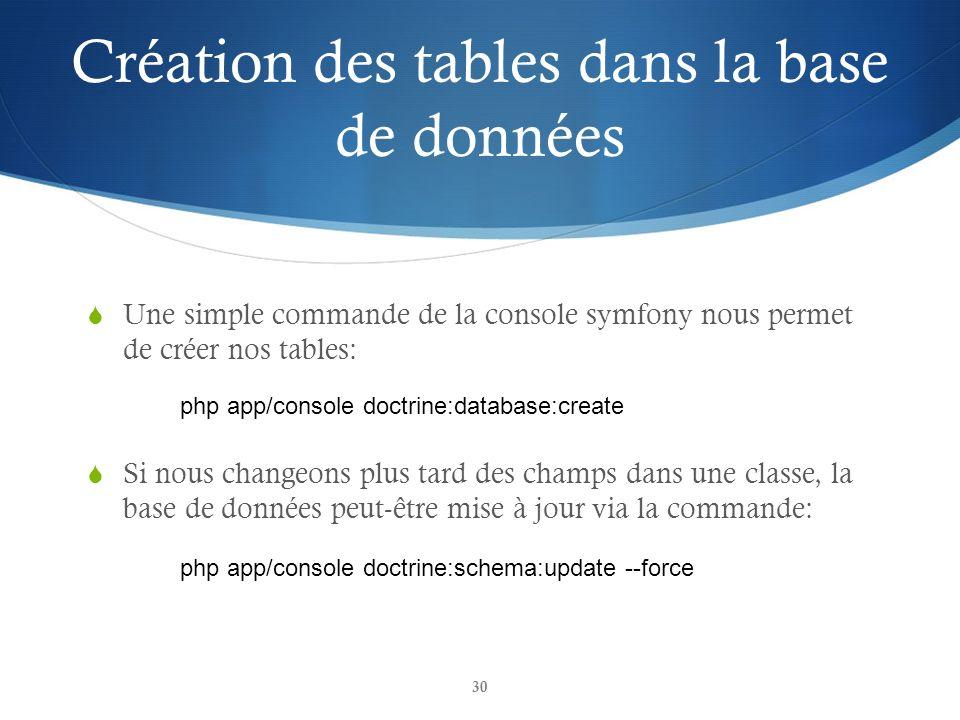 Création des tables dans la base de données Une simple commande de la console symfony nous permet de créer nos tables: Si nous changeons plus tard des champs dans une classe, la base de données peut-être mise à jour via la commande: 30 php app/console doctrine:database:create php app/console doctrine:schema:update --force