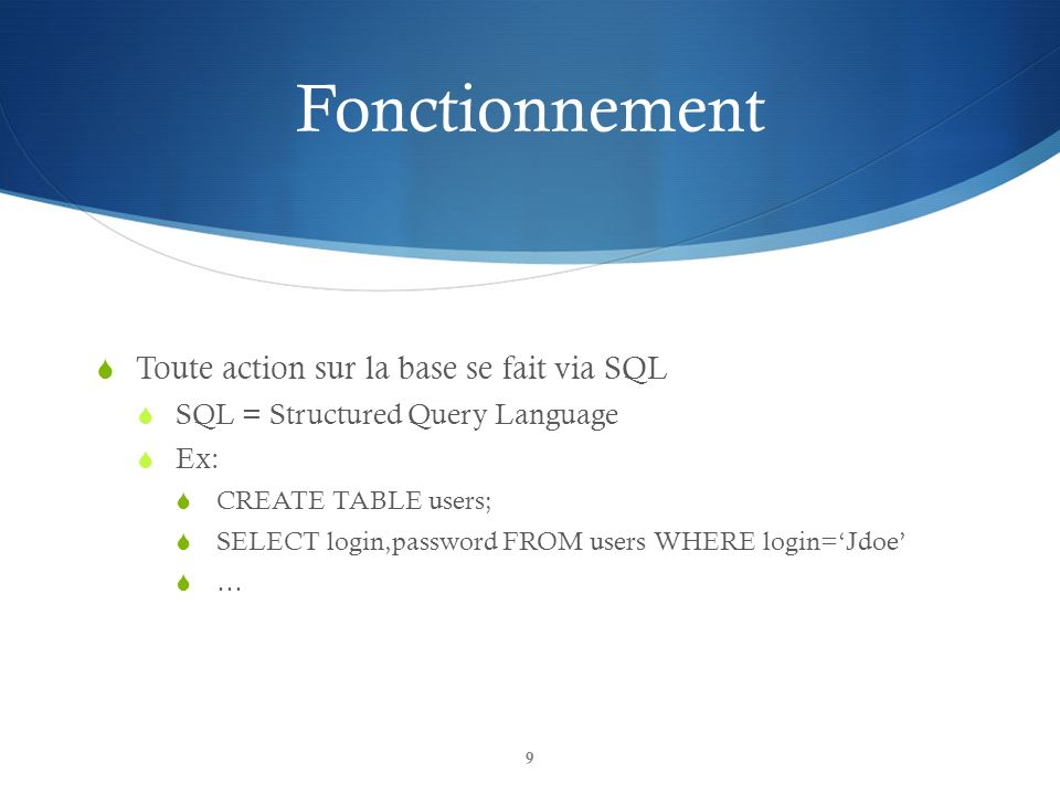 Fonctionnement Toute action sur la base se fait via SQL SQL = Structured Query Language Ex: CREATE TABLE users; SELECT login,password FROM users WHERE