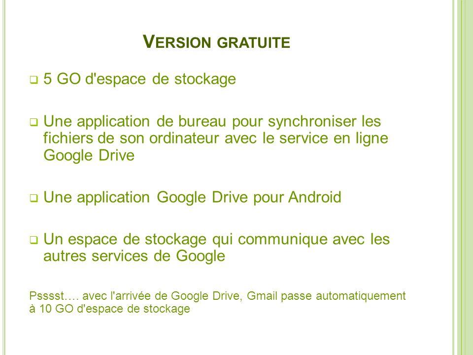 V ERSION GRATUITE 5 GO d'espace de stockage Une application de bureau pour synchroniser les fichiers de son ordinateur avec le service en ligne Google
