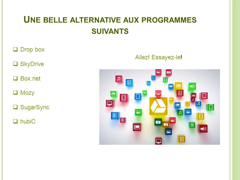 U NE BELLE ALTERNATIVE AUX PROGRAMMES SUIVANTS Drop box SkyDrive Box.net Mozy SugarSync hubiC Allez! Essayez-le!