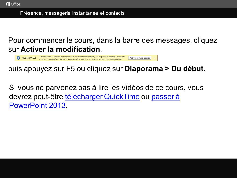 Présence, messagerie instantanée et contacts j puis appuyez sur F5 ou cliquez sur Diaporama > Du début.