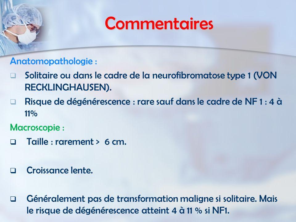 Commentaires Anatomopathologie : Solitaire ou dans le cadre de la neurofibromatose type 1 (VON RECKLINGHAUSEN). Risque de dégénérescence : rare sauf d