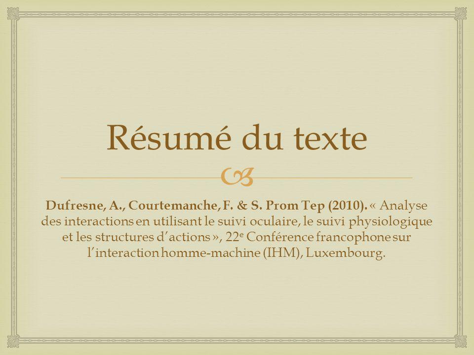 Résumé du texte Dufresne, A., Courtemanche, F. & S.
