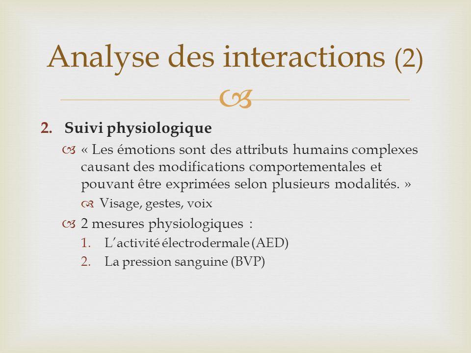 2.Suivi physiologique « Les émotions sont des attributs humains complexes causant des modifications comportementales et pouvant être exprimées selon plusieurs modalités.
