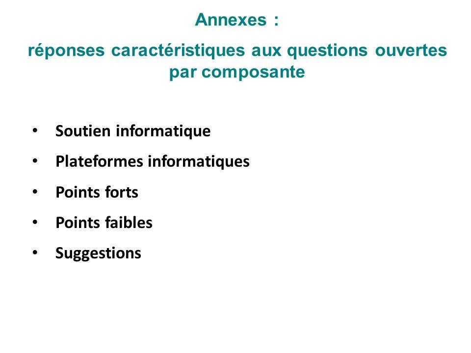 Annexes : réponses caractéristiques aux questions ouvertes par composante Soutien informatique Plateformes informatiques Points forts Points faibles S